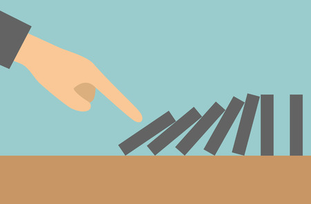 Concept businessman hand pushing the domino effect Vector