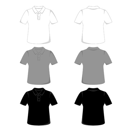 Front and back views of a polo-shirt Vector