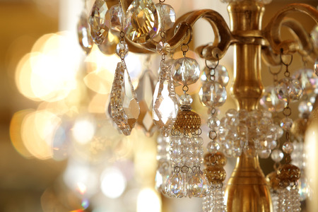 chandeliers: Close up on crystal of contemporary chandelier Stock Photo