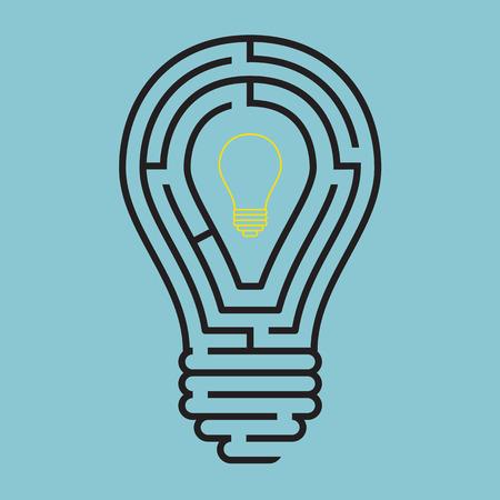 電球迷路仕立て概念  イラスト・ベクター素材