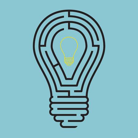 conceptual bulb: Light bulb conceptual with maze style Illustration