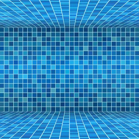 Blue ceramic tile mosaic in swimming pool
