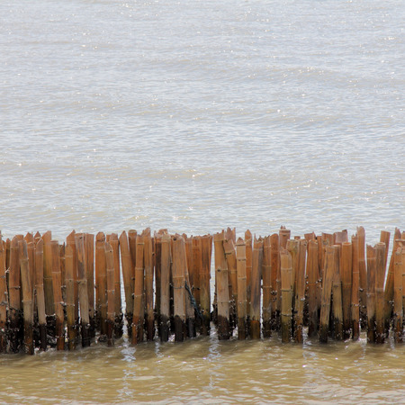 coastal erosion: The bamboo block to prevent coastal erosion, wave Stock Photo