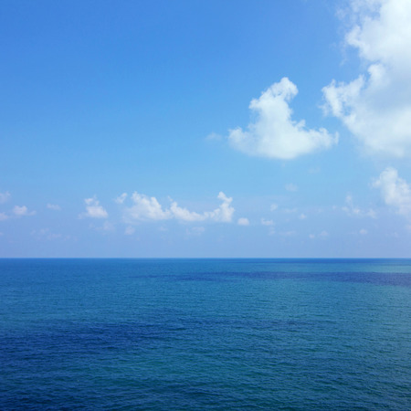 blue sky: Background of calm sea and blue sky