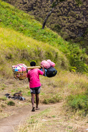 carrying heavy: Porters carrying heavy sacks, delivery option in the mountain range