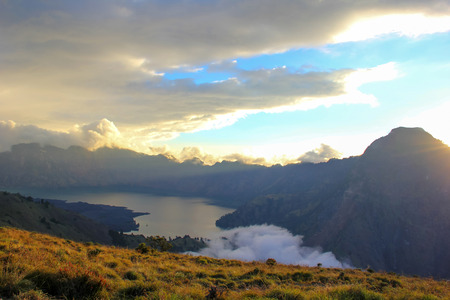 crater lake: Mountain Rinjani volcano crater lake, Lombok, Indonesia Stock Photo