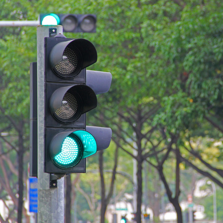 Traffic light while on the green signal 免版税图像