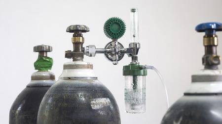 regulator: Oxygen cylinder and regulator gauge, Hospital equipment