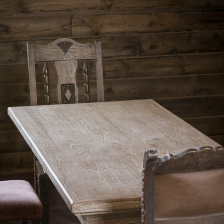 kitchen furniture: Wood table and chair with vintage style Stock Photo