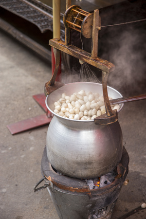 Boiling silkworm cocoon in pot to conversion raw silk