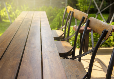 Outdoor terrace of table and chair in the garden