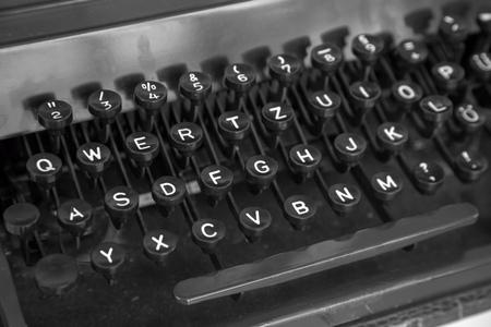 Old typewriter machine keyboard closeup of keys