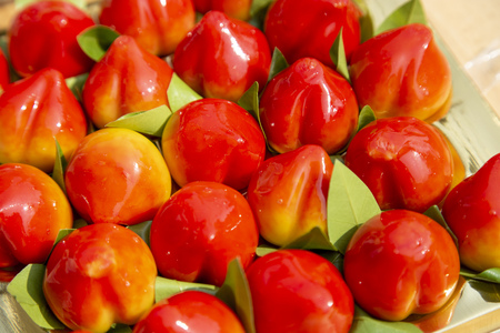 Peach shaped mung beans of Thai dessert (Kanom look choup)