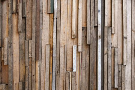 Wall recycled from scrap wood boards
