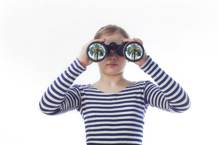 freshwater sailor: girl sailor in the shirt looks in binoculars
