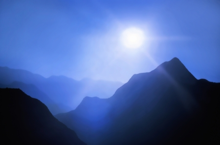 mountains with the blue sky