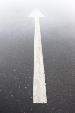 arrow markings  asphalt road leads into  light