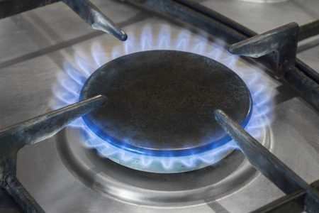 gas burner burns with a blue flame