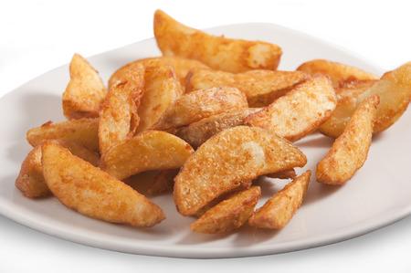 Francouzské hranolky brambor na bílém talíři Reklamní fotografie - 33048847