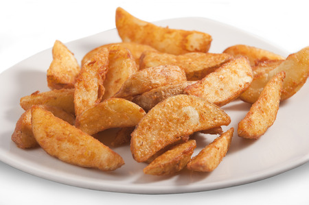 French fries potato on a white plate