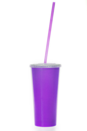 glass of purple paper with a tube on a white background Stock Photo