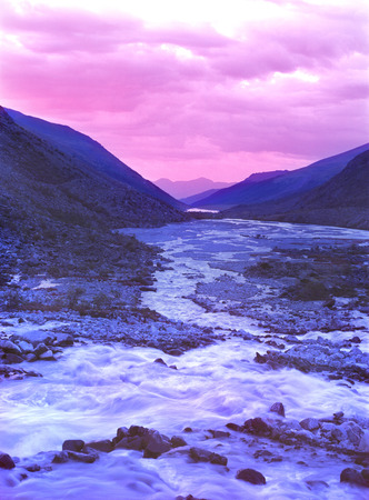 mountains  river altai sunset  landscape  shadespurple twilight