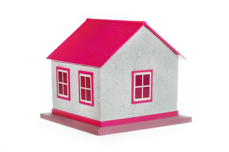 house model red isolated on white background Stock Photo