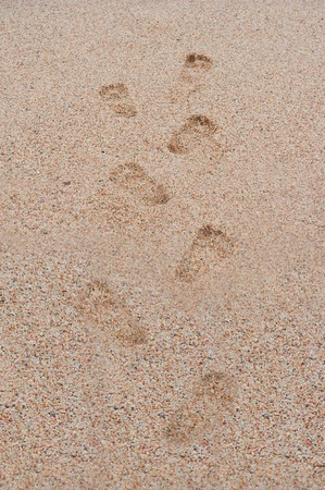 footprints  sand leading into  sea rhythmically stretching