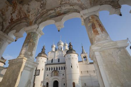 church Resurrection  Rostov  Great Russia look through  stone porch