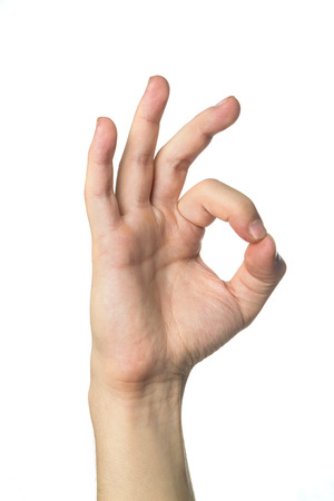 hand the okay sign on white background