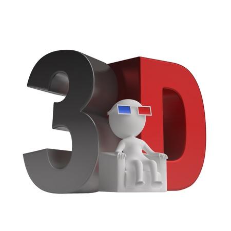 hombre sentado: 3d hombre sentado en una silla de gafas 3D y un icono 3d. aisladas sobre fondo blanco