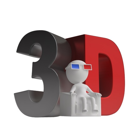 3d Mann in einem Stuhl in 3D-Brille und 3D-Symbol sitzt. isoliert auf weißem Hintergrund Standard-Bild