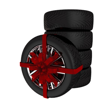 Tire with ribbon - 3d render. Isolated on white background photo