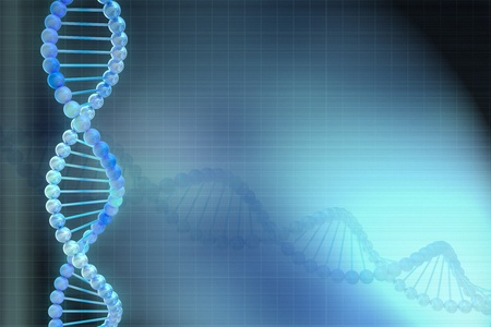 Digital illustration of a DNA model in blue background