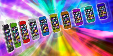 Several touchscreen smartphone on a colorful background. Cell Smart Mobile Phone 3D