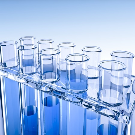 Test-tubes on blue background Stock Photo - 11792035