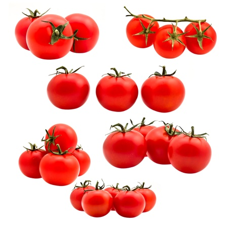 Tomatoes on white background Stock Photo