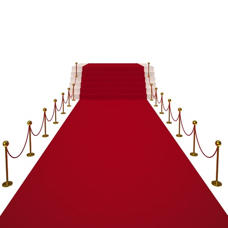 pedestrian walkway: Red carpet on white background  Isolated 3D image