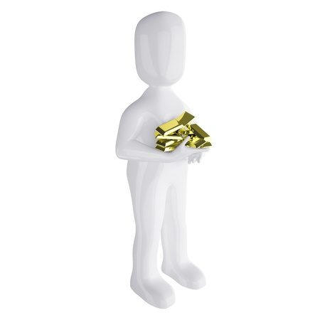 3d  people with  the gold bars in hands  3d image  Isolated white background