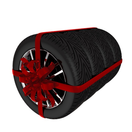 Tire with ribbon - 3d render  Isolated on white background Stock Photo