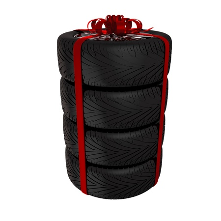 4 wheel: Tire with ribbon - 3d render  Isolated on white background Stock Photo