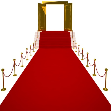 Red carpet on white background  Isolated 3D image photo