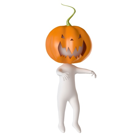 3D Illustration of a man Running Around in a Pumpkin Costume Stock Photo
