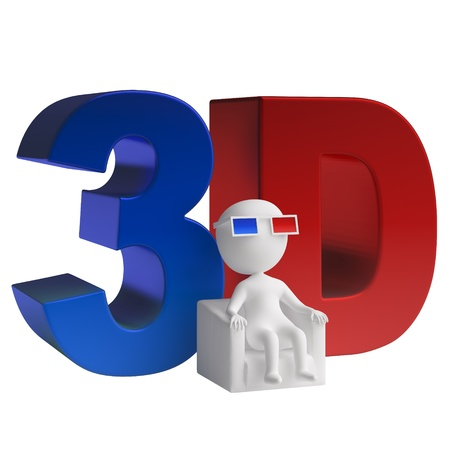 3d man seated in a chair in 3d glasses and 3d icon  isolated on white background