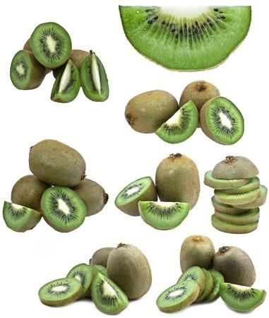 collection of fresh kiwi fruits isolated on white background