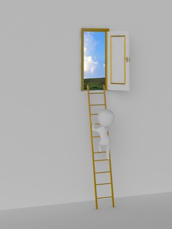 Road to solution  Door to the sky  3d person photo