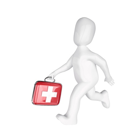 firstaid: 3d  people the doctor with  the first-aid set in hands  3d image  Isolated white background