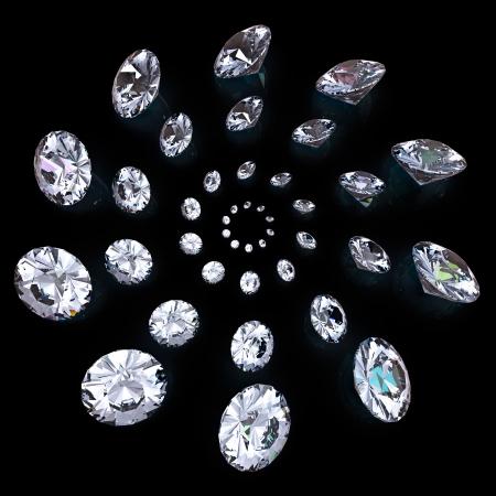 Diamond isolated on black background Stock Photo