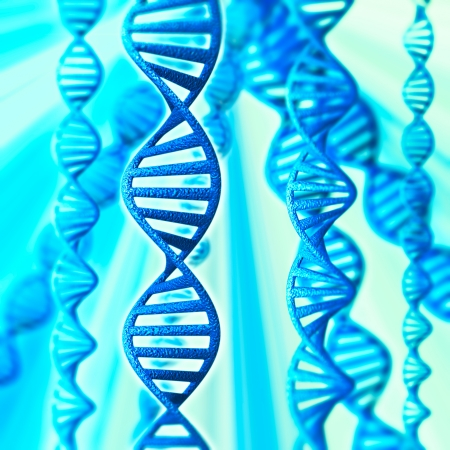 3d model of DNA on a blue background