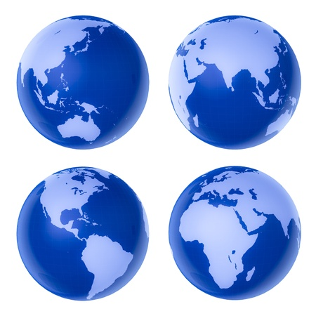 Four blue globe on white background photo